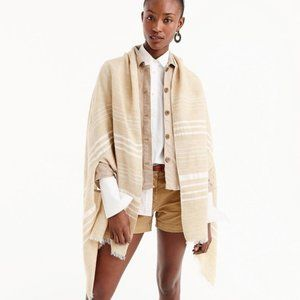 J. Crew Striped Cape-Scarf in Camel Ivory